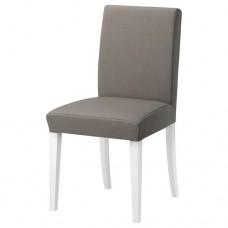 كرسي لون الارجل أبيض لون القماش رمادي بيج