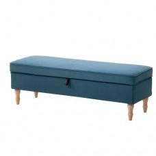 مقعد لون أزرق بني فاتح/خشب