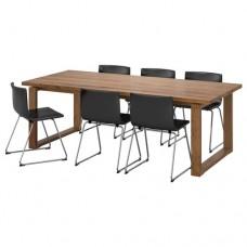 طاولة و6 كراسي لون بني