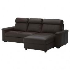 صوفا 3 مقعد بأريكة استرخاء بني داكن
