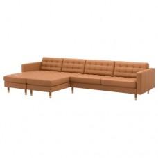 صوفا 5 مقعد, مع أرائك استرخاء, بني-ذهبي/خشب