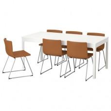 طاولة لون ابيض و6 كراسي لون ذهبي بني