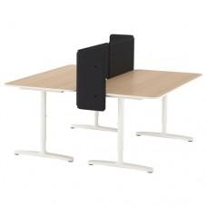 مكتب مع حاجز, قشرة بلوط أبيض اللون, أبيض 160x160 55 سم