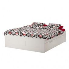 هيكل سرير مع تخزين لون أبيض
