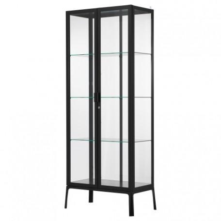 خزانة بباب زجاجي أسود 73x175 سم
