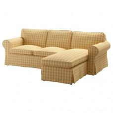 صوفا 3 مقعد مع أريكة استرخاء لون  أصفر