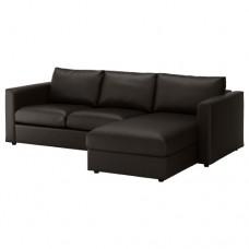 صوفا 3 مقعد بأريكة استرخاء أسود