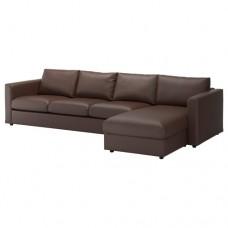 صوفا 4 مقعد بأريكة استرخاء لون بني داكن