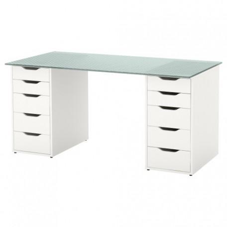 طاولة مكتب زجاج زخرفة شكل خلية نحل لون أبيض 148x73 سم