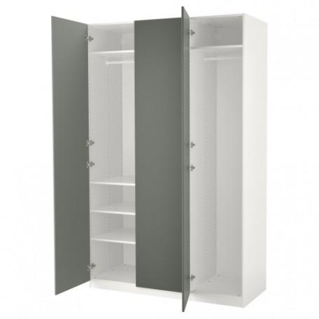 خزانة ملابس لون أبيض ورمادي أخضر