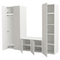 خزانة ملابس لون أبيض  رمادي فاتح 260x57x221 سم