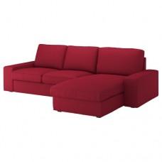 صوفا 3 مقعد, بأريكة استرخاء, أحمر