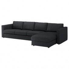صوفا 4 مقعد بأريكة استرخاء لون أسود/رمادي