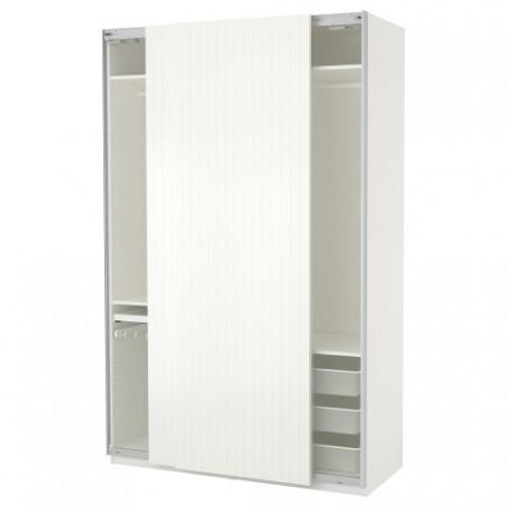 خزانة ملابس لون أبيض مقلم بيج