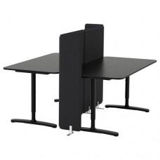مكتب مع حاجز, قشرة خشب دردار طلاء أسود  160x160 120 سم