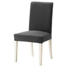 كرسي لون الارجل أبيض لون القماش رمادي غامق
