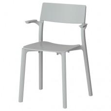 كرسي مع مسندين للذراعين لون رمادي