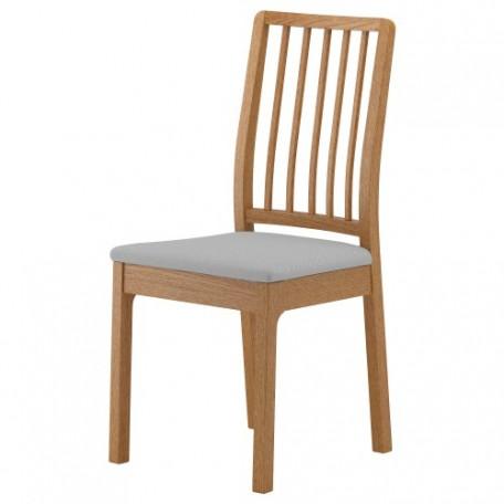 كرسي لون خشبي القماش رمادي فاتح