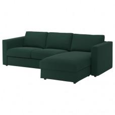 صوفا 3 مقعد بأريكة استرخاء,أخضر داكن