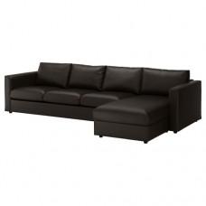 صوفا 4 مقعد بأريكة استرخاء لون أسود