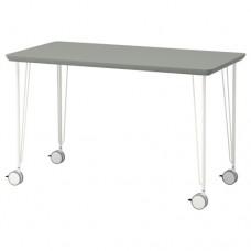 طاولة مكتب لون رمادي-أخضر أرجل أبيض 120x60 سم