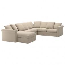 صوفا زاوية، 5-مقاعد, بأريكة استرخاء, طبيعي