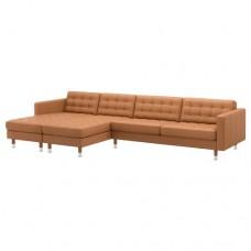 صوفا 5 مقعد, مع أرائك استرخاء, بني-ذهبي/معدن