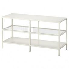 طاولة تلفزيون لون أبيض وزجاج