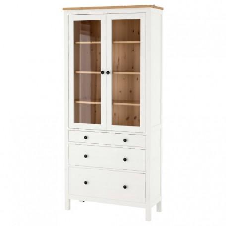 خزانة بباب زجاجي مع 3 أدراج ملون أبيض بني فاتح