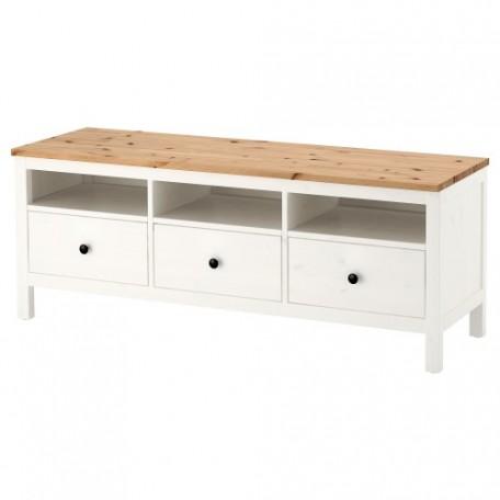 طاولة تلفاز ملون أبيض بني فاتح