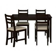 طاولة و4 كراسي, أسود - بني, بيج