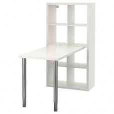 مكتب+ مكتبه لون  أبيض مطلي بالكروم 77x147 سم