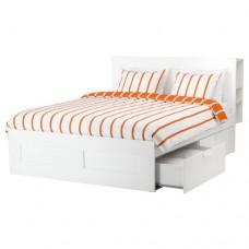 هيكل سرير مع تخزين ولوح رأس أبيض 160x200 سم