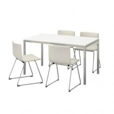 طاولة و4 كراسي, أبيض شديد اللمعان
