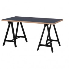 طاولة مكتب لون أزرق أرجل أسود 150x75 سم
