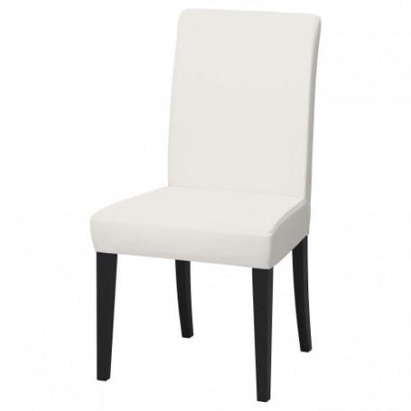 كرسي لون الارجل بني داكن لون القماش أبيض