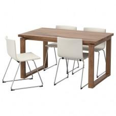طاولة و4 كراسي, بني-لون كراسي أبيض
