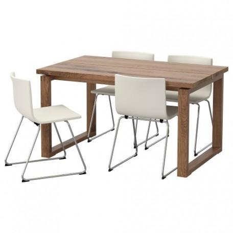 طاولة و4 كراسي بني لون كراسي أبيض