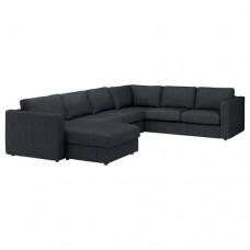 صوفا زاوية، 5 مقاعد بأريكة استرخاء أسود/رمادي