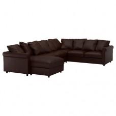 صوفا زاوية، 5-مقاعد, بأريكة استرخاء, بني داكن