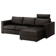 صوفا 3 مقعد مع أريكة استرخاء ومسند رأس لون أسود