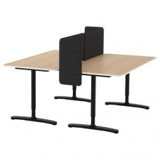 مكتب مع حاجز قشرة بلوط أبيض اللون أسود  160x160 55 سم