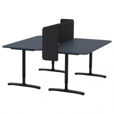 مكتب مع حاجز مشمع أزرق أسود  160x160 55 سم