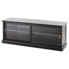 طاولة تلفزيون مع أبواب انزلاقية, طلاء أسود