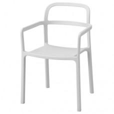 كرسي مع مسندين للذراعين للأماكن الداخلية/الخارجية لون رمادي فاتح
