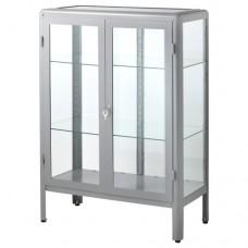 خزانة بباب زجاجي لون رمادي