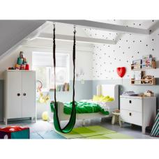 غرفة اطفال: سرير قابل للتمديد+ خزانه ملابس + كومدينا جارورين لون أبيض + فرشة قابلة للتمدد ل 3 احجام