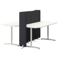 مكتب مع حاجز أبيض  160x160 120 سم