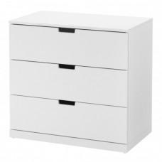 خزانة 3 جوارير لون أبيض 80x76 سم
