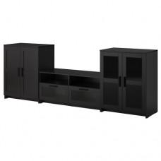 تشكيلة تخزين تلفزيون/ باب زجاجي, أسود